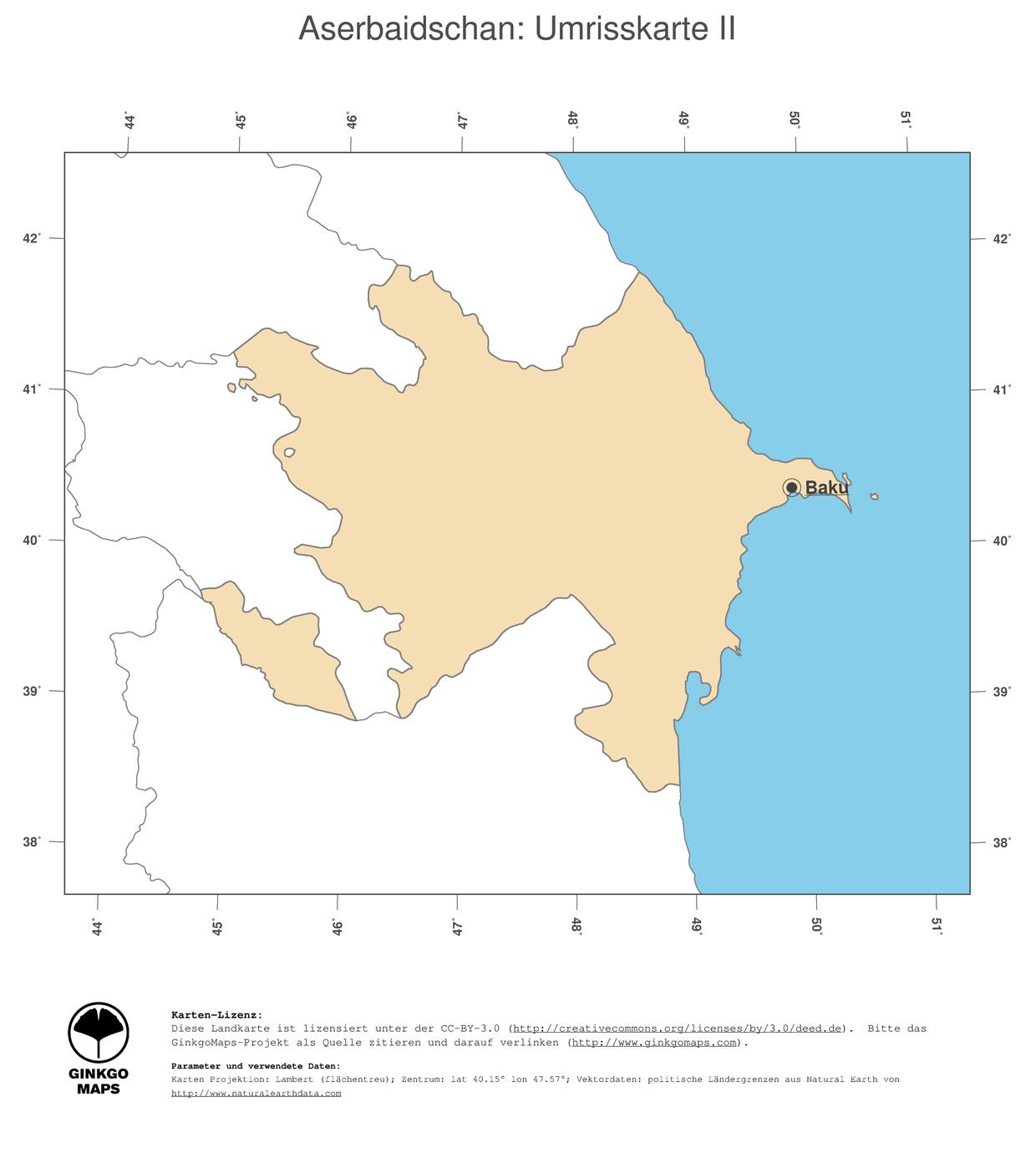 Landkarte Aserbaidschan Ginkgomaps Landkarten Sammlung Kontinent Asien Region Aserbaidschan
