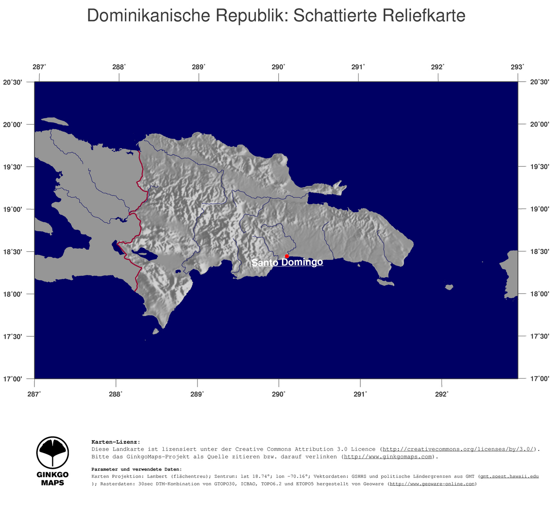 Landkarte Dominikanische Republik Ginkgomaps Landkarten Sammlung
