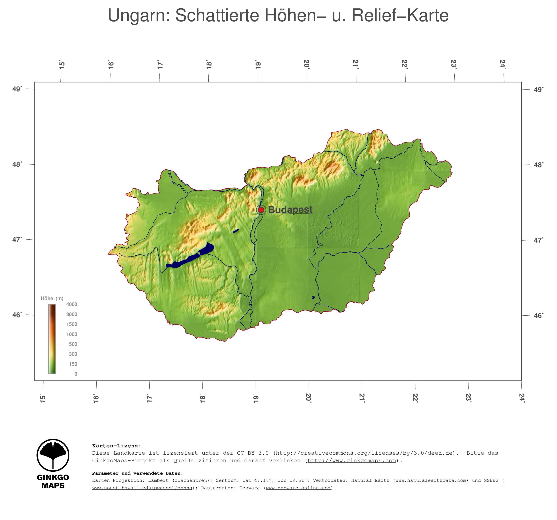 Topographische Karte Ungarn.Landkarte Ungarn Ginkgomaps Landkarten Sammlung Kontinent
