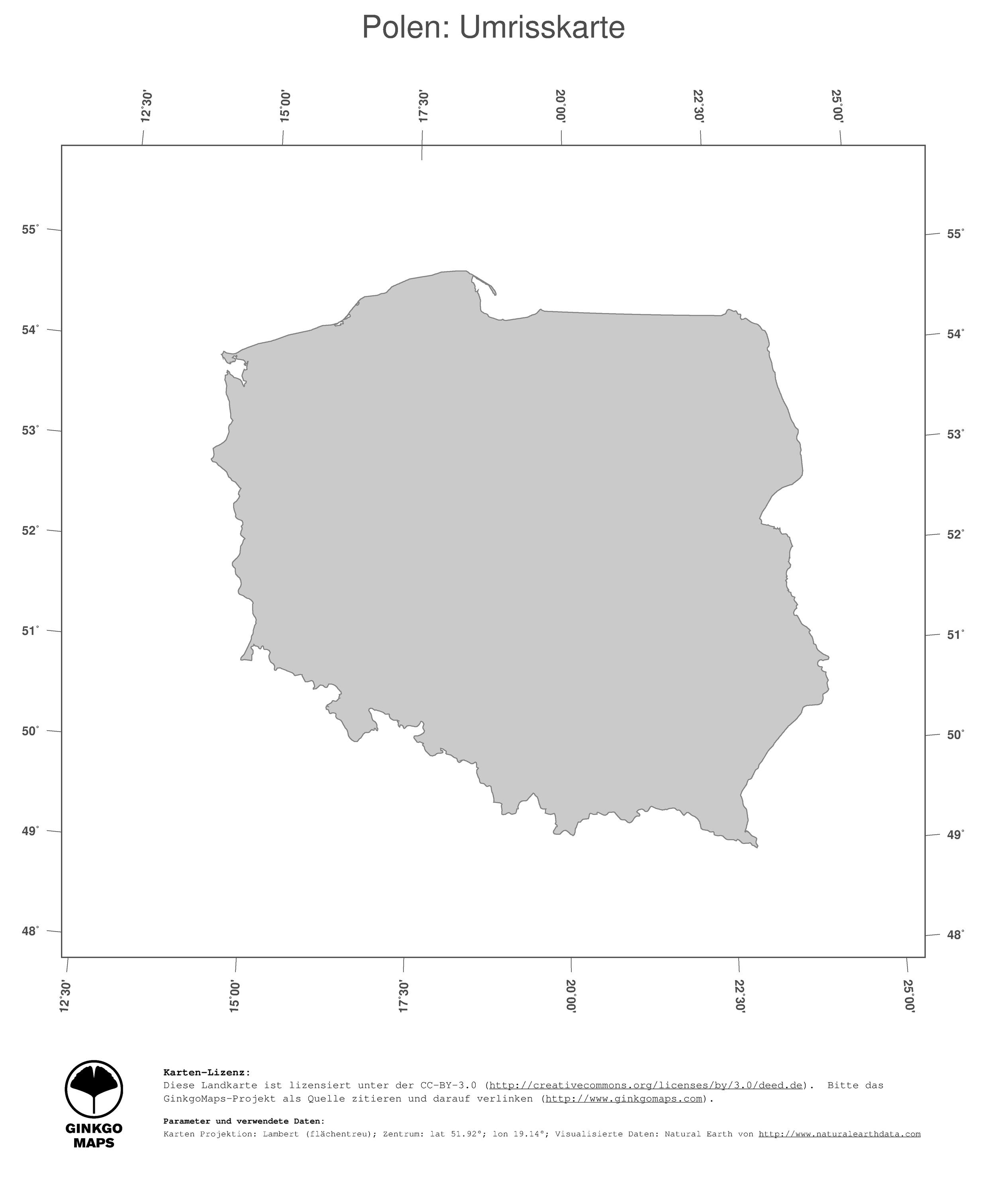 Polen Karte Umriss.Landkarte Polen Ginkgomaps Landkarten Sammlung Kontinent