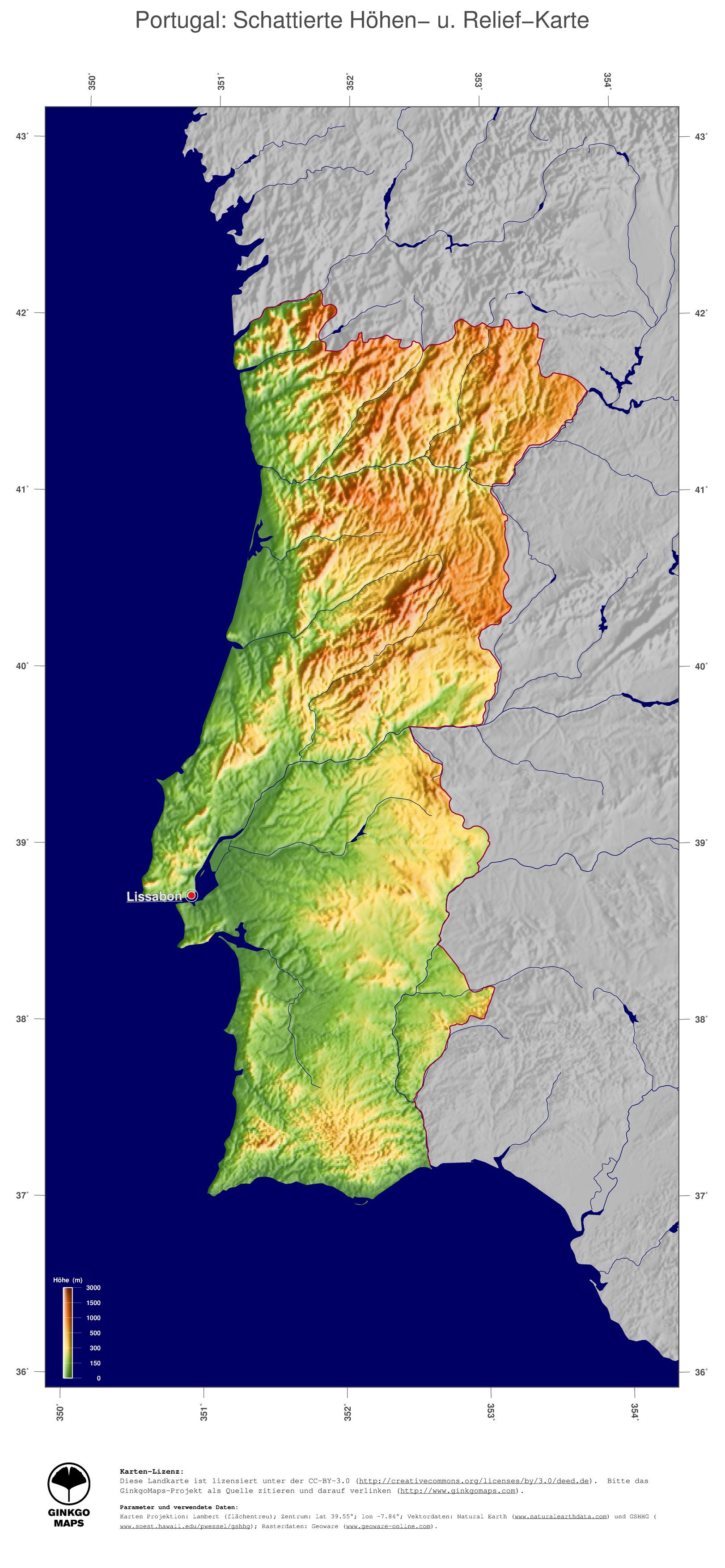 Landkarte Portugal Ginkgomaps Landkarten Sammlung Kontinent
