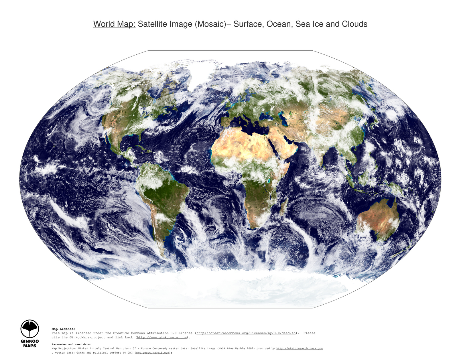 Map world ginkgomaps continent world region world 1 map world surface ocean sea ice and clouds gumiabroncs Choice Image