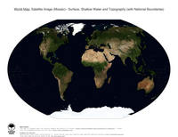 #25 Map World: Surface, Shallow Water and Topography (with National Boundaries)