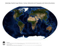 #13 Map World: Surface, Bathymetrie and Topography (with National Boundaries)