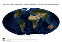 #16 Map World: Surface, Bathymetrie and Topography (with National Boundaries)