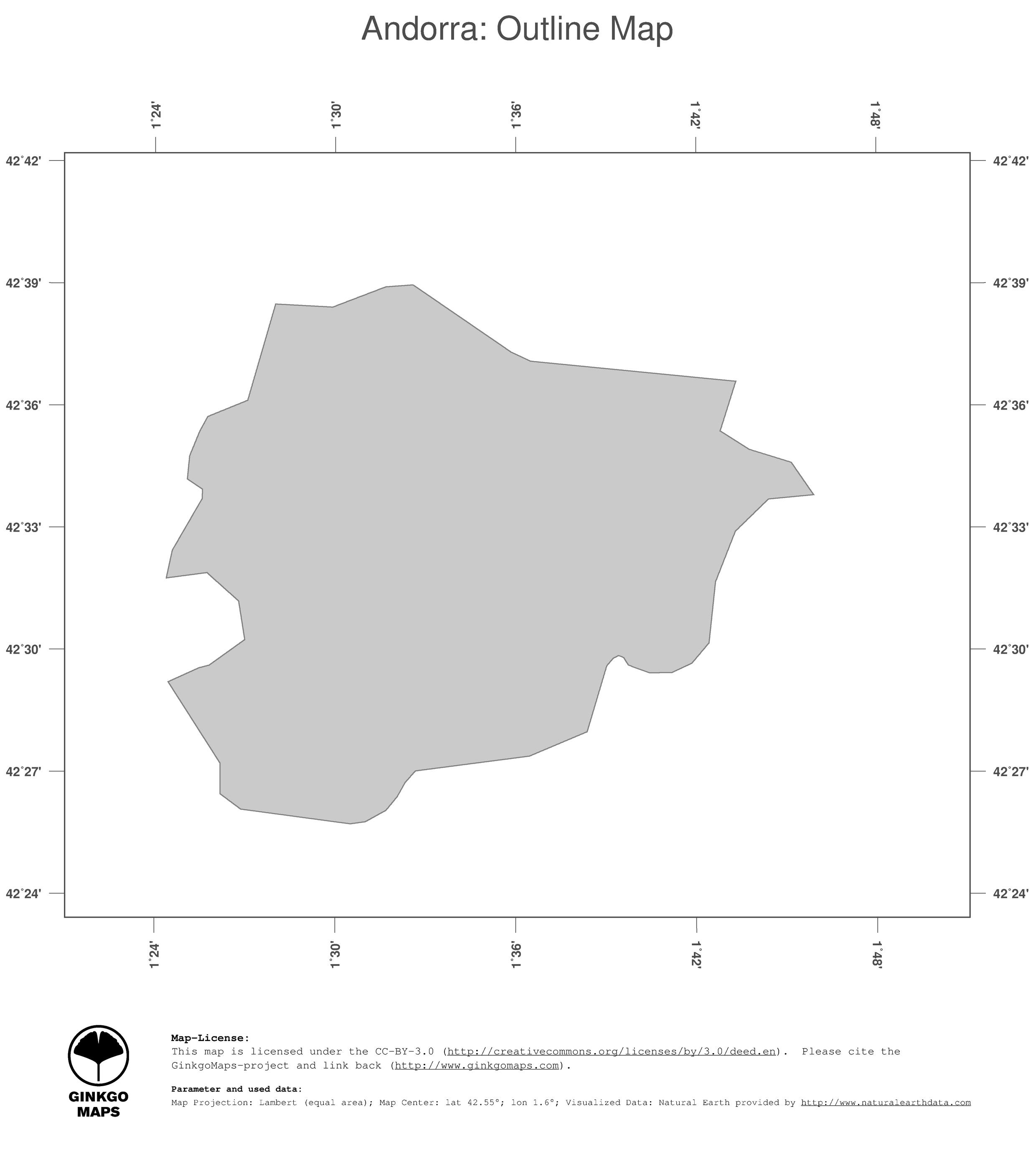 Map Andorra Ginkgomaps Continent Europe Region Andorra
