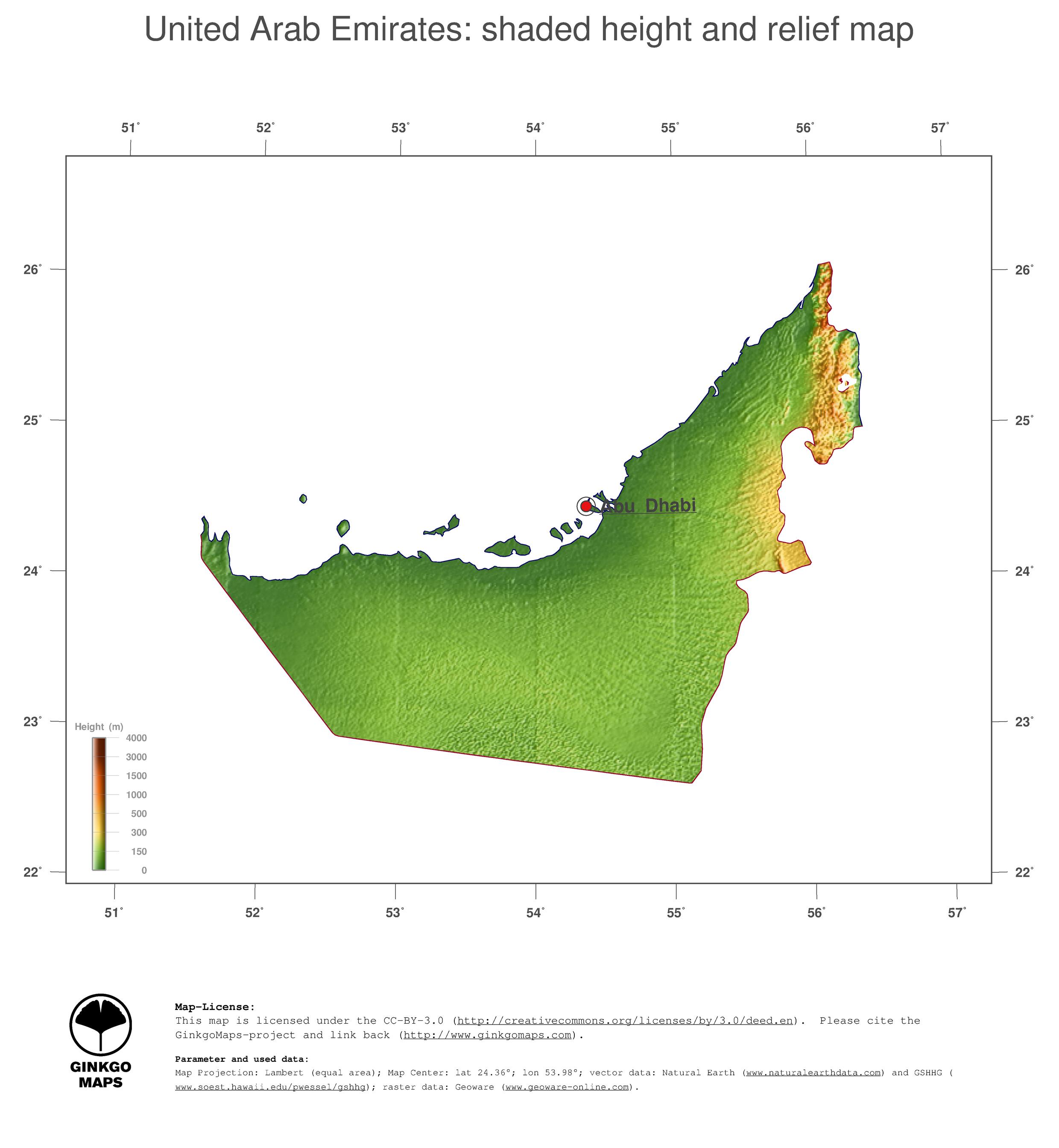 Map United Arab Emirates GinkgoMaps continent Asia region – Uae Map Pdf