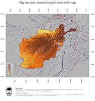 #5 Map Afghanistan: color-coded topography, shaded relief, country borders and capital