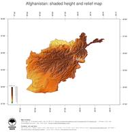 #3 Map Afghanistan: color-coded topography, shaded relief, country borders and capital