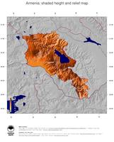 #5 Map Armenia: color-coded topography, shaded relief, country borders and capital