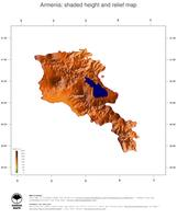 #3 Map Armenia: color-coded topography, shaded relief, country borders and capital