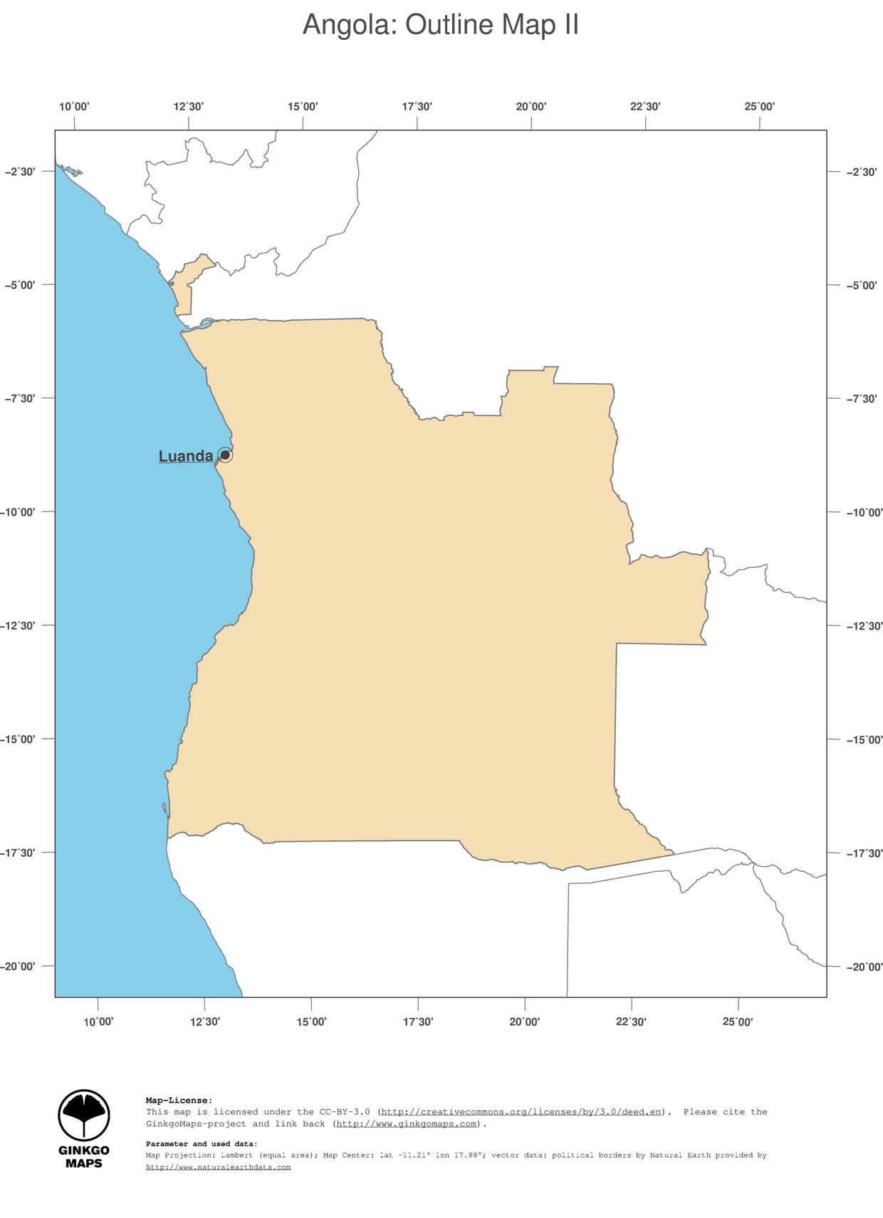 Africa Map Angola.Map Angola Ginkgomaps Continent Africa Region Angola