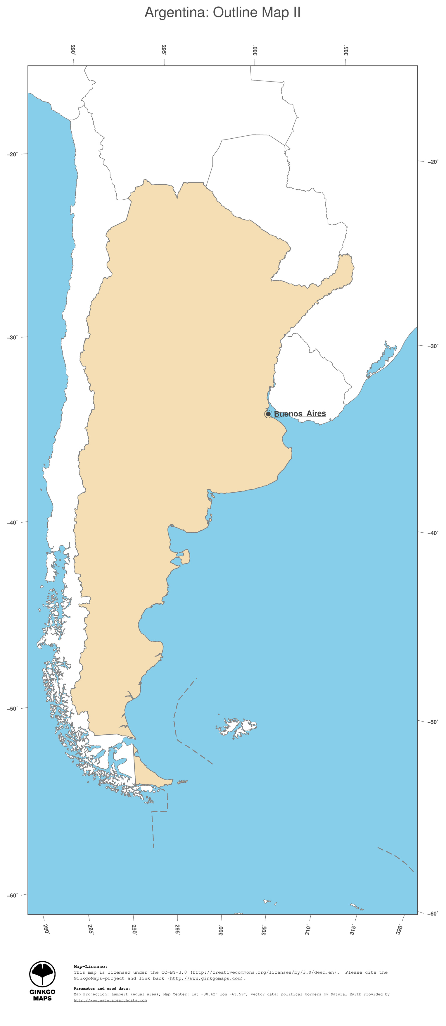 Map Argentina GinkgoMaps Continent South America Region Argentina - South america argentina map