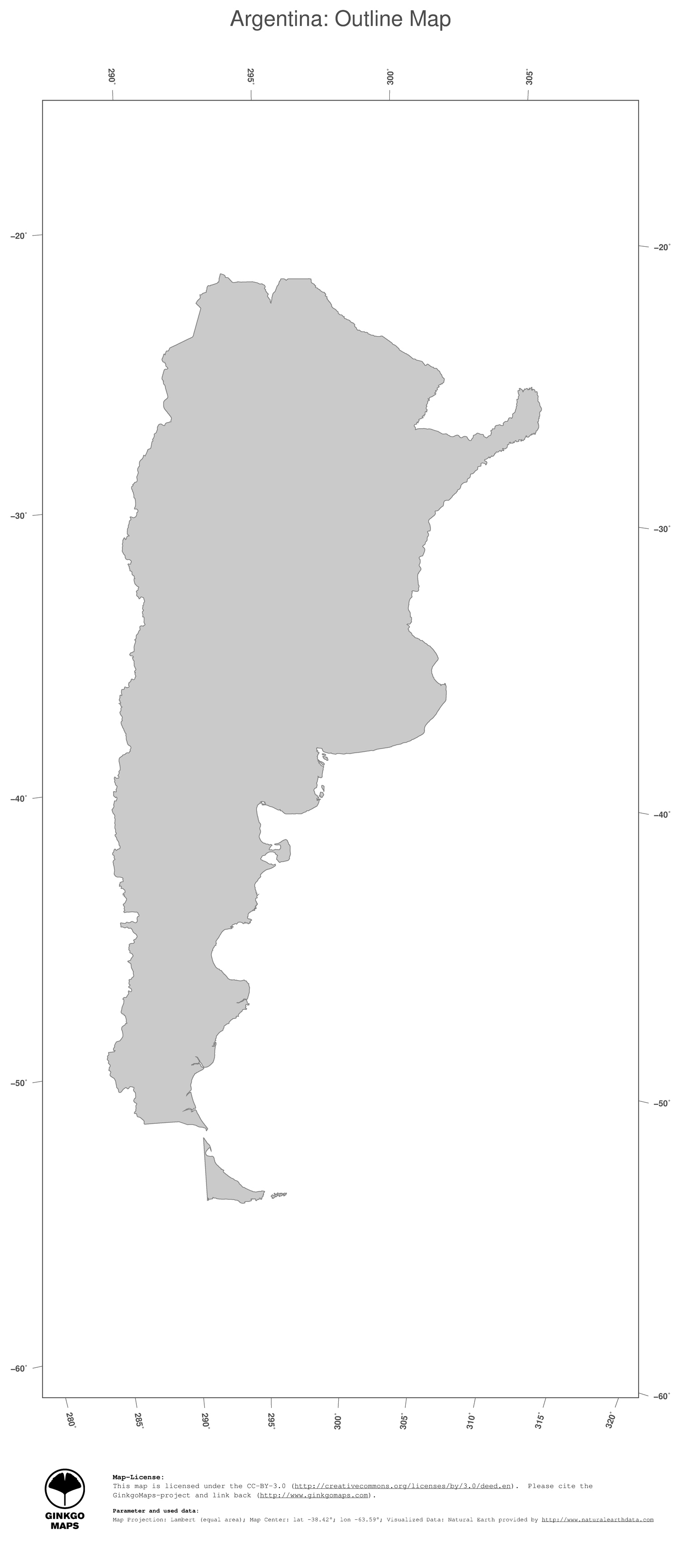 Map Argentina GinkgoMaps Continent South America Region Argentina - Argentina map outline