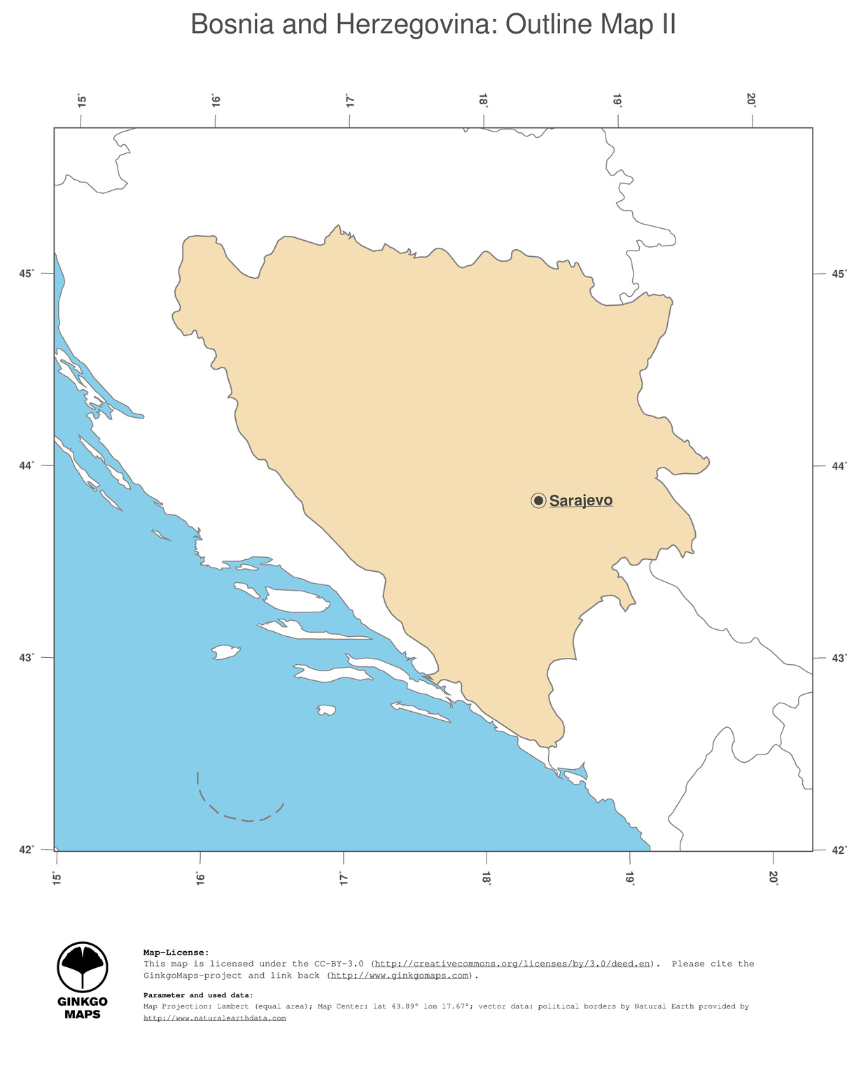 Map Bosnia And Herzegovina GinkgoMaps Continent Europe Region - Bosnia and herzegovina map
