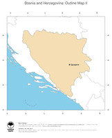 #2 Map Bosnia and Herzegovina: political country borders and capital (outline map)