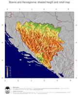 #5 Map Bosnia and Herzegovina: color-coded topography, shaded relief, country borders and capital