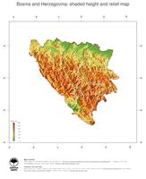 #3 Map Bosnia and Herzegovina: color-coded topography, shaded relief, country borders and capital