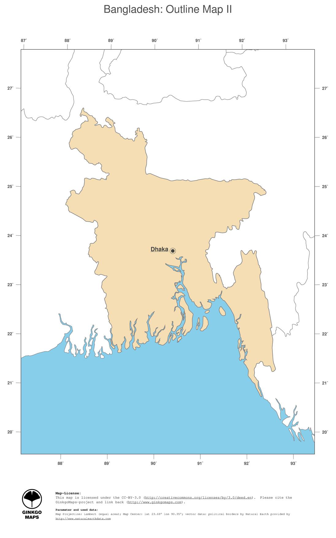 Asia Map Bangladesh.Map Bangladesh Ginkgomaps Continent Asia Region Bangladesh