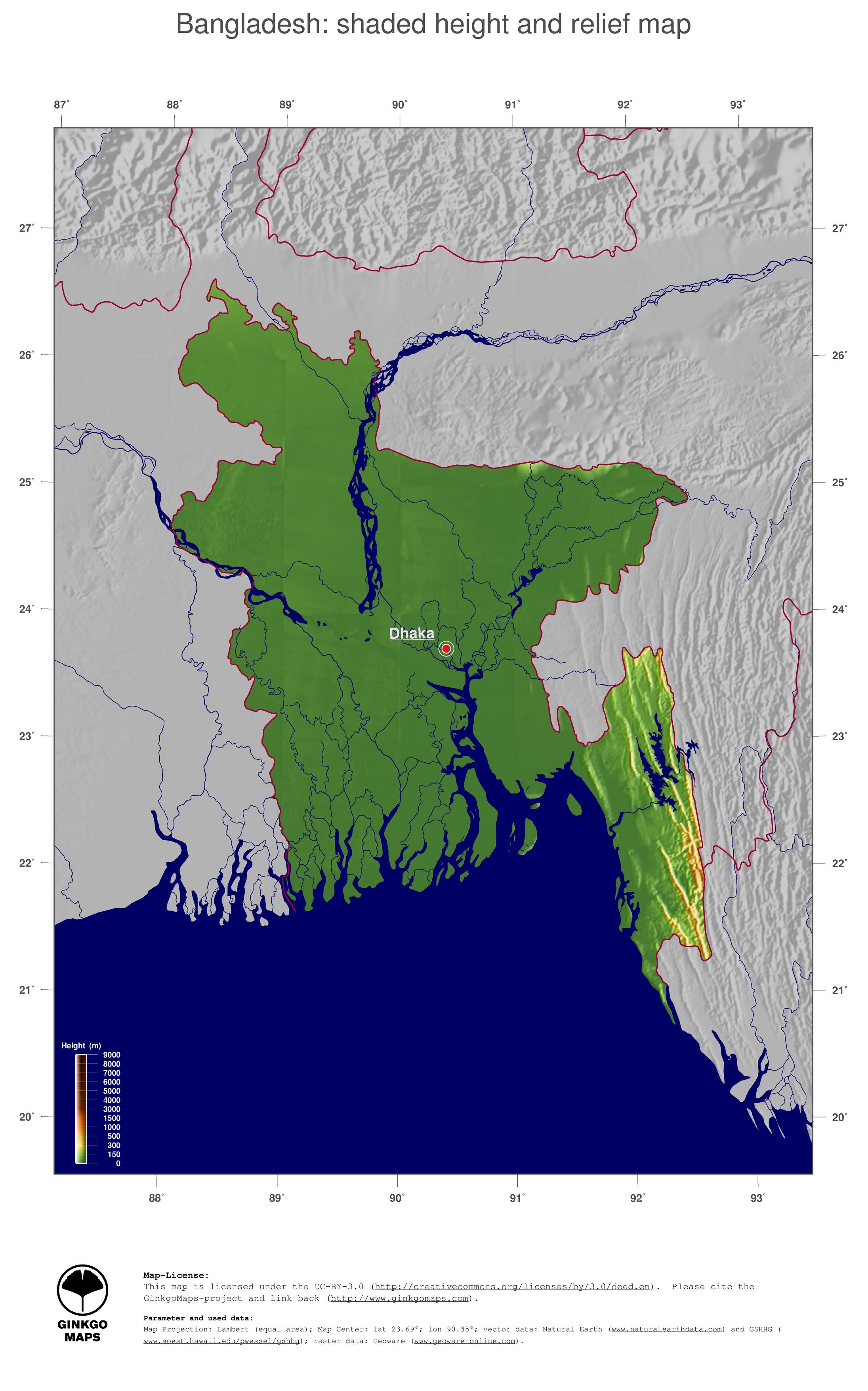 Map Bangladesh GinkgoMaps Continent Asia Region Bangladesh
