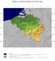 #5 Map Belgium: color-coded topography, shaded relief, country borders and capital