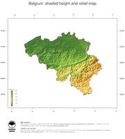 #3 Map Belgium: color-coded topography, shaded relief, country borders and capital