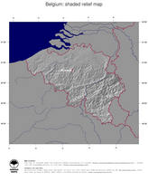 #4 Map Belgium: shaded relief, country borders and capital