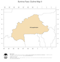 #2 Map Burkina Faso: political country borders and capital (outline map)