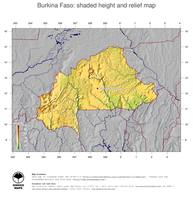 #5 Map Burkina Faso: color-coded topography, shaded relief, country borders and capital