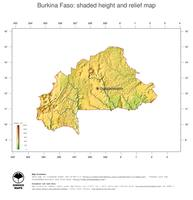 #3 Map Burkina Faso: color-coded topography, shaded relief, country borders and capital
