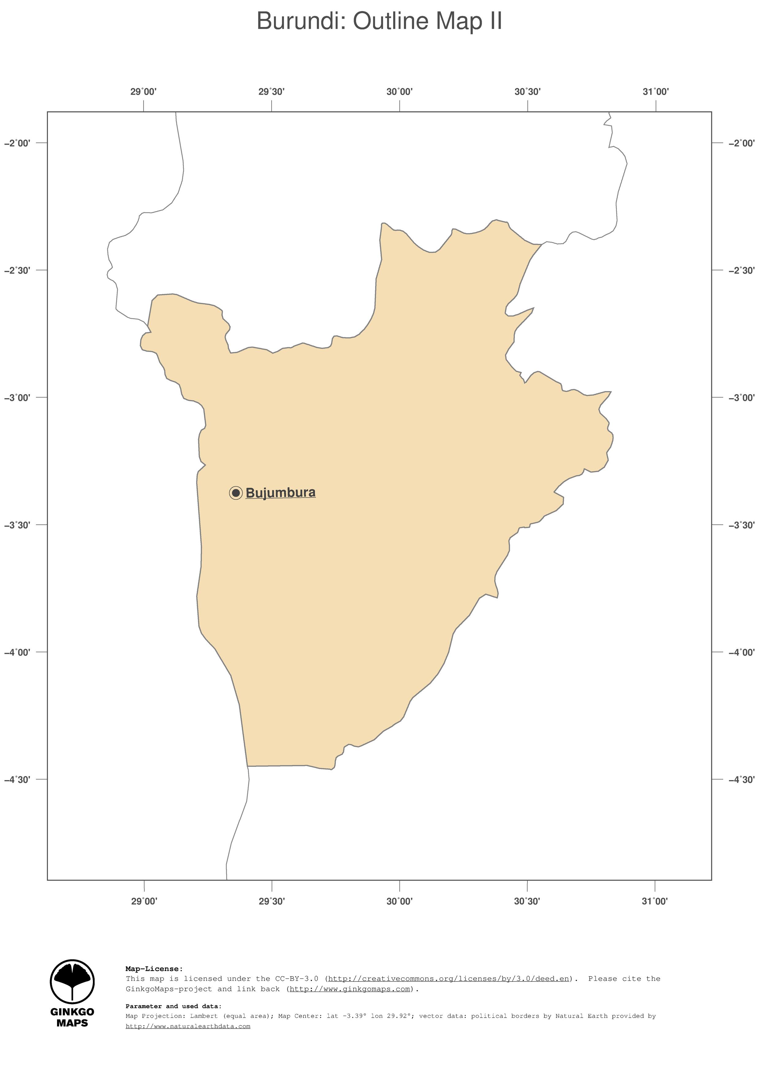 Map Burundi GinkgoMaps continent Africa region Burundi