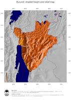 #5 Map Burundi: color-coded topography, shaded relief, country borders and capital