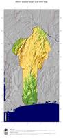 #5 Map Benin: color-coded topography, shaded relief, country borders and capital