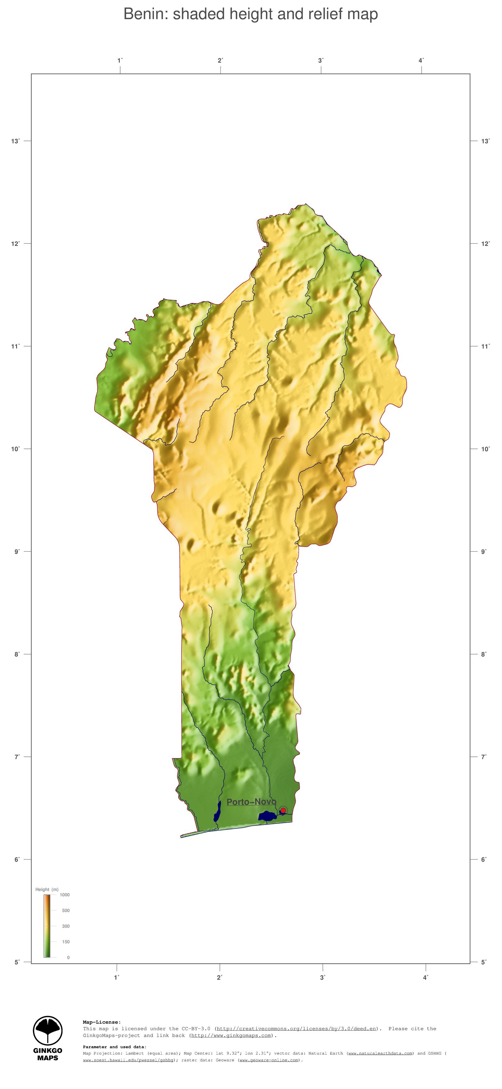 Map Benin; GinkgoMaps continent: Africa; region: Benin
