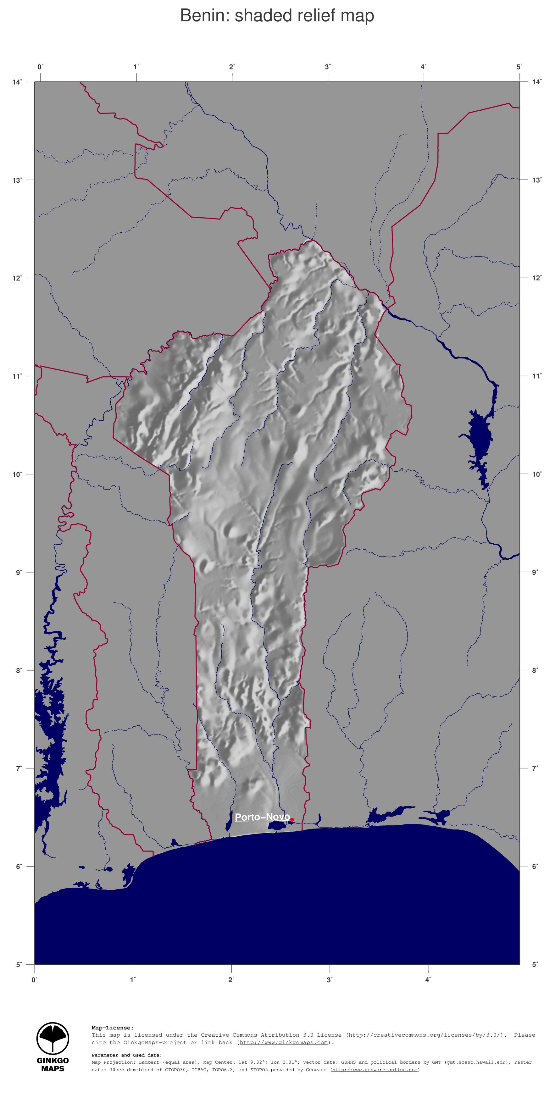 Map Benin GinkgoMaps continent Africa region Benin