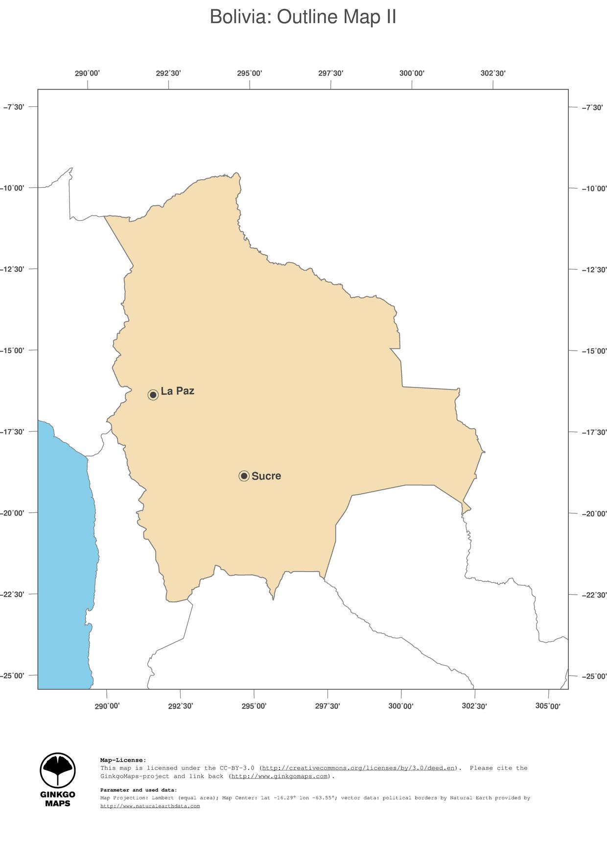 Map Bolivia GinkgoMaps continent South America region Bolivia