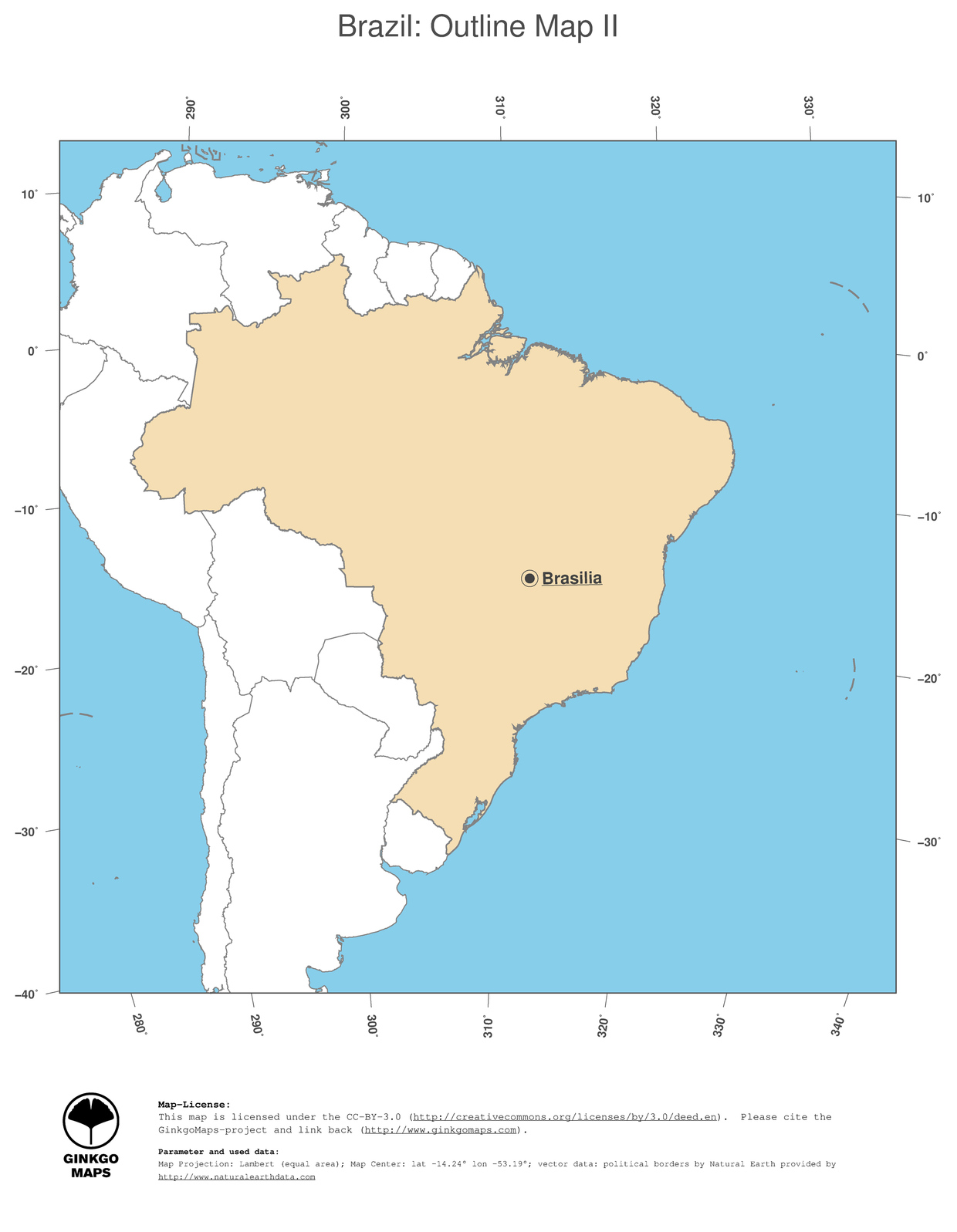 Map Brazil GinkgoMaps Continent South America Region Brazil - Maps of south america with capitals and countries