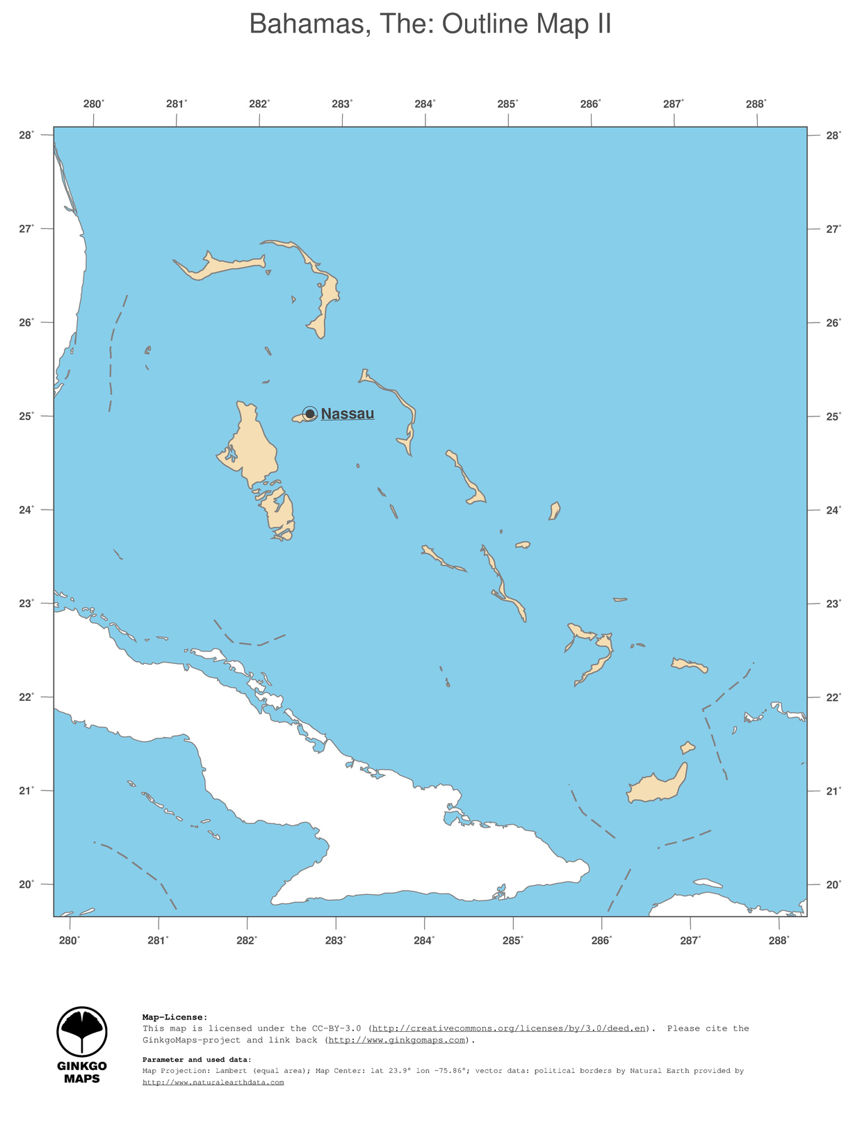 Map Bahamas The GinkgoMaps Continent South America Region - Maps of south america with capitals and countries
