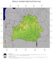 #5 Map Belarus: color-coded topography, shaded relief, country borders and capital
