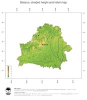 #3 Map Belarus: color-coded topography, shaded relief, country borders and capital