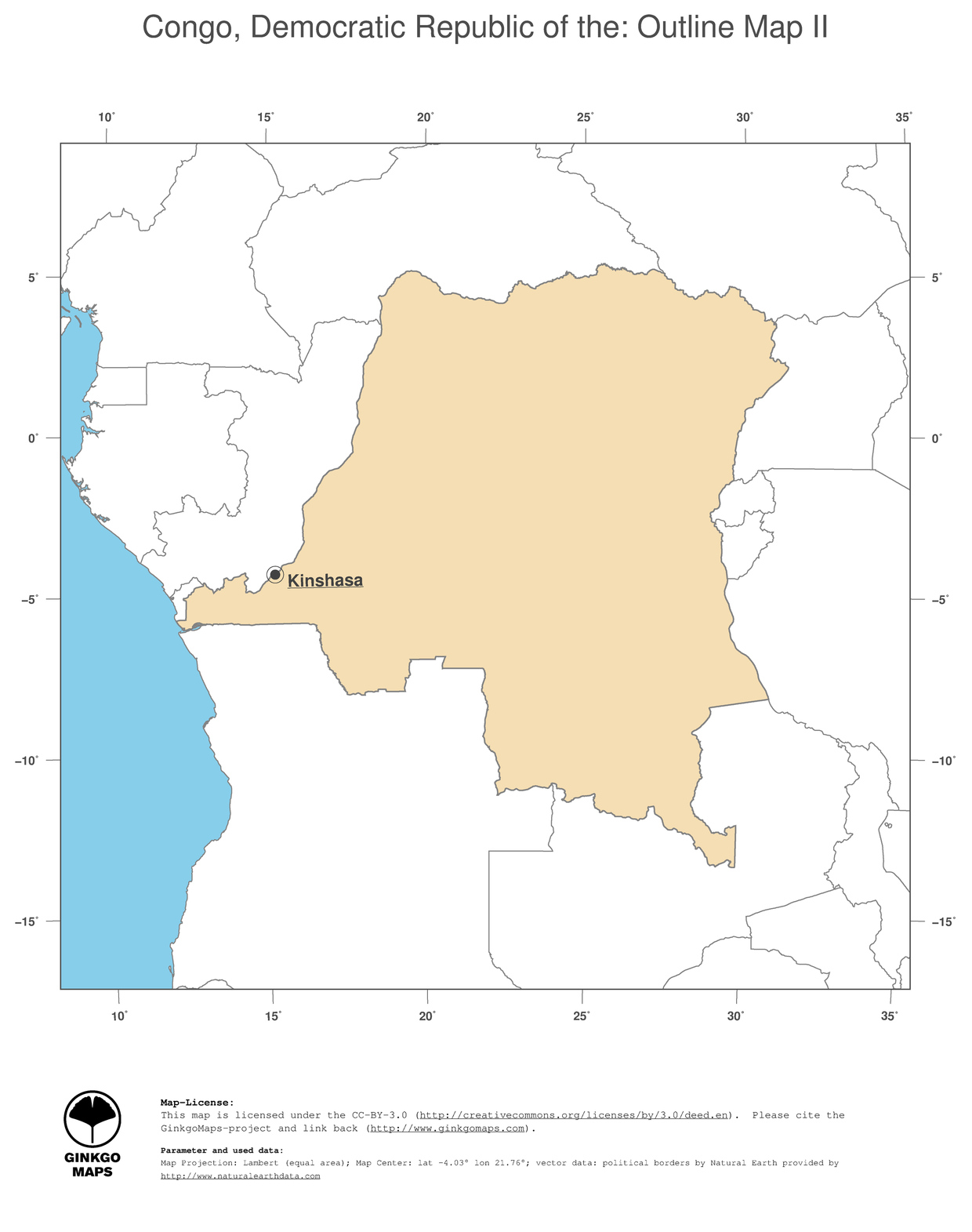 Congo On Africa Map.Map Congo Democratic Republic Of The Ginkgomaps Continent Africa