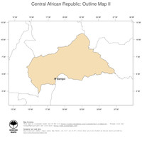 #2 Map Central African Republic: political country borders and capital (outline map)
