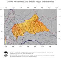 #5 Map Central African Republic: color-coded topography, shaded relief, country borders and capital