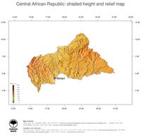 #3 Map Central African Republic: color-coded topography, shaded relief, country borders and capital