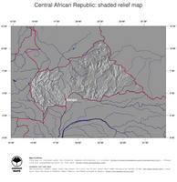 #4 Map Central African Republic: shaded relief, country borders and capital