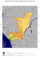 #5 Map Republic of the Congo: color-coded topography, shaded relief, country borders and capital