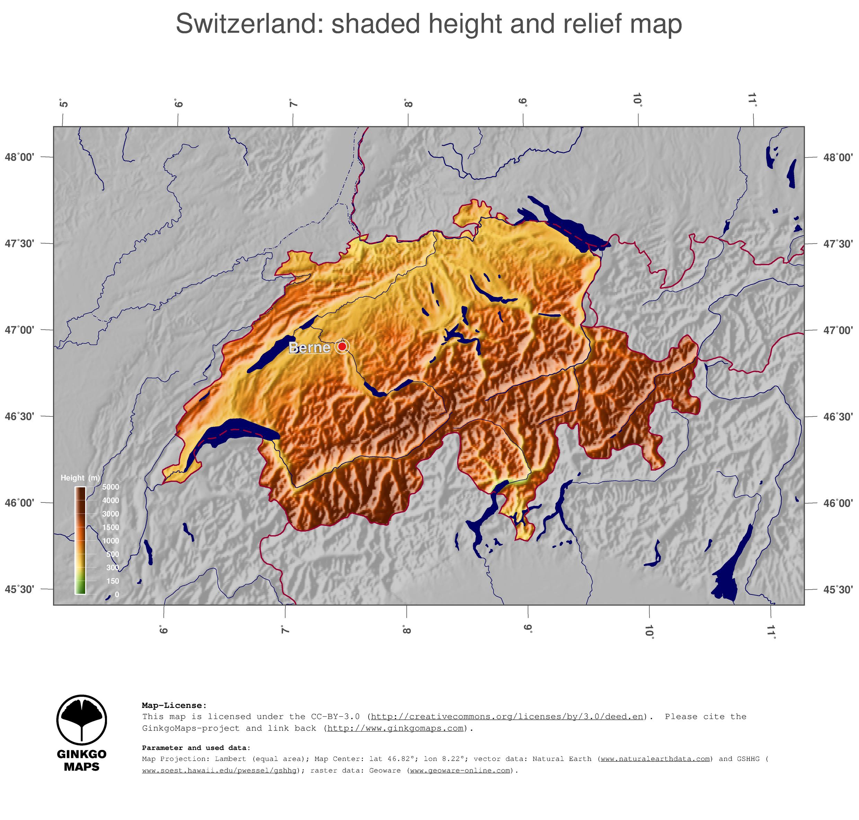 Switzerland Elevation Map.Map Switzerland Ginkgomaps Continent Europe Region Switzerland