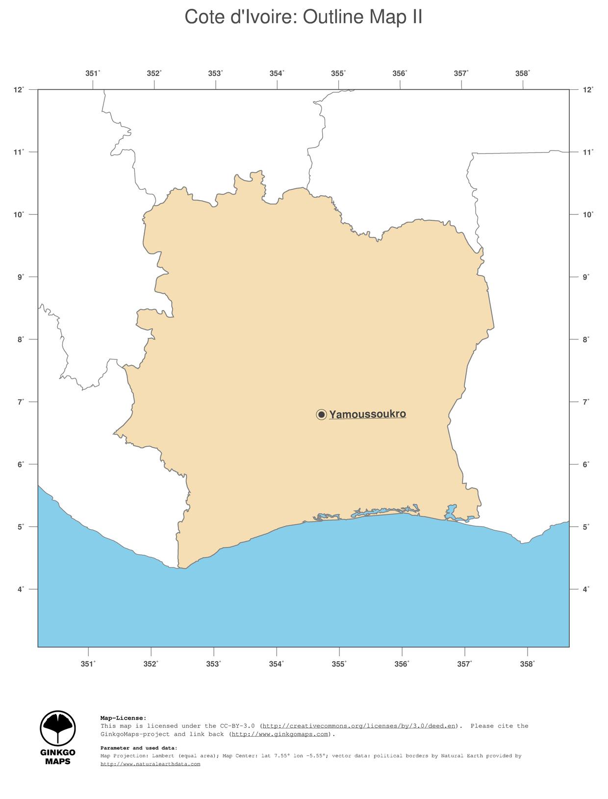 Map Cote dIvoire GinkgoMaps continent Africa region Cote dIvoire