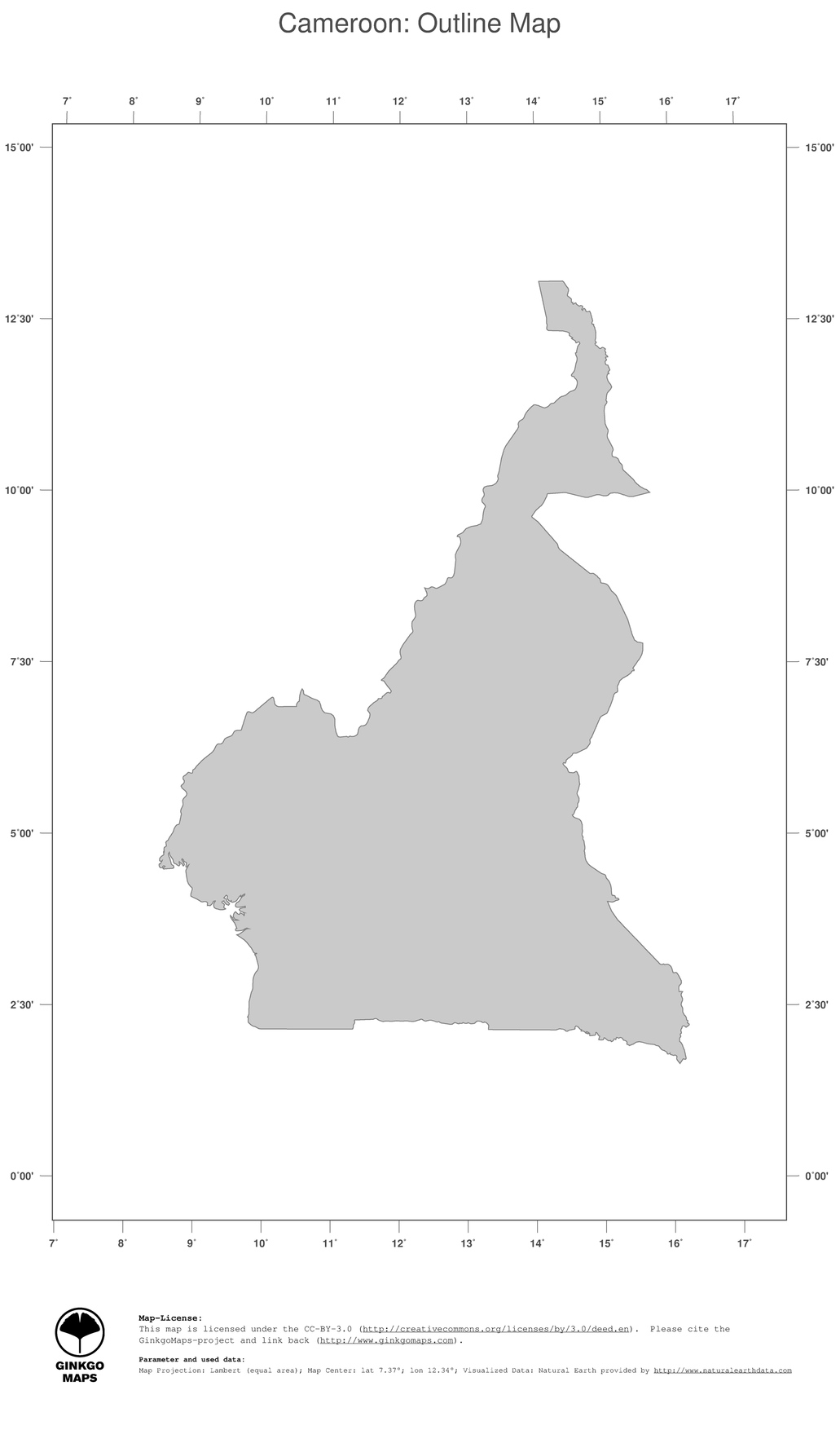 Map Cameroon GinkgoMaps continent Africa region Cameroon