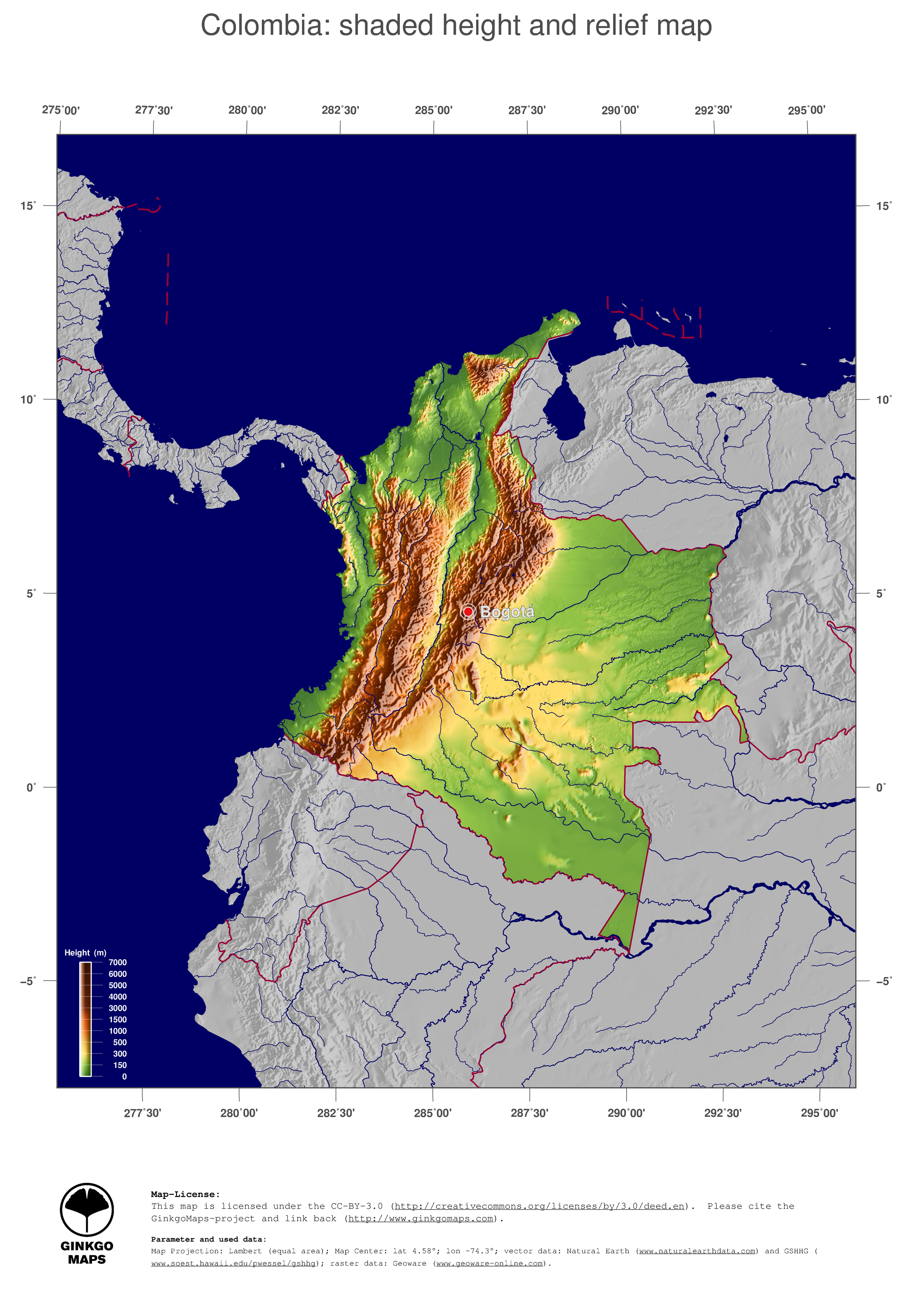map colombia  ginkgomaps continent  south america  region